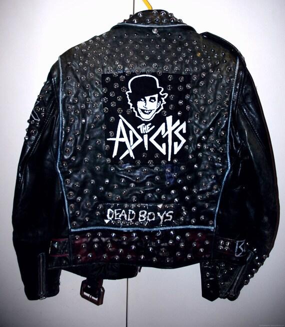 Punk studded leather jacket DIY VINTAGE perfecto custom destroy The Adicts, Dead boys, Misfits, Clit 45 M/L