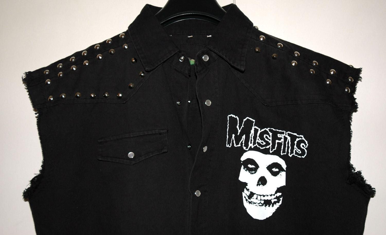Black studded Denim jacket sleeveless MISFITS size XXL men