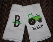 Tractor Monogrammed Burp Cloths- Set of 2