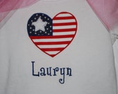Girls 4th of July shirt or onesie, Heart Flag Monogrammed with Name