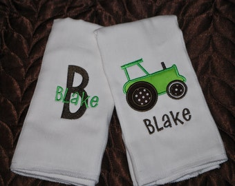 Tractor Monogrammed Burp Cloths- Set of 2