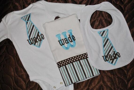 Boy's Tie Applique Gift Set- Bodysuit, Bib, and Burp Cloth- Monogrammed