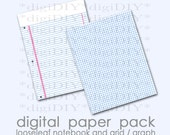 "digital notebook and grid graph printable paper download - 8.5x11"" actual size - for scrapbooking, photo overlays, art backgrounds, etc"