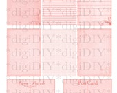 digital collage sheet - shabby pink printable paper for ATC ACEO backgrounds, and more - library card, graph, grid, postcards