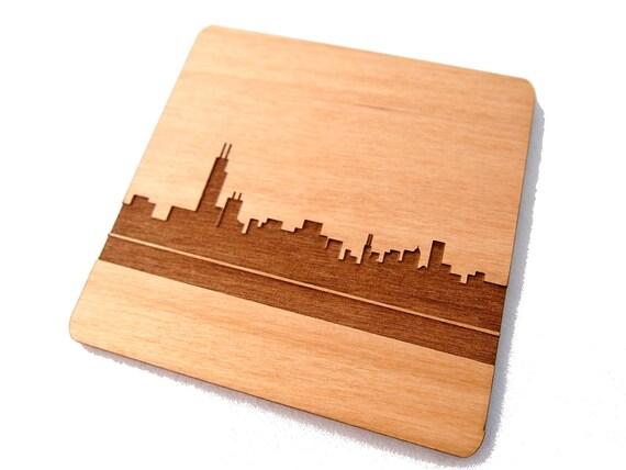 Chicago Skyline - Regular, Laser Cut Alder Wood Coasters, Set of 4