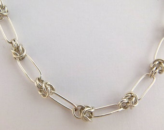 Sterling silver chainmaille Chinese stretched knot necklace - item 21