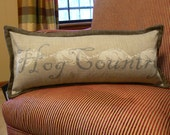 Hog Country, Arkansas pillow, 10 inch x 24 inch with flange, gray and silver, hand painted