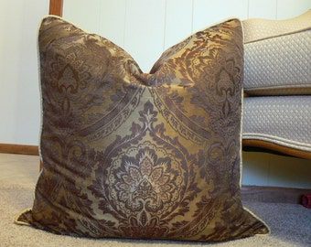 Pillow 4, 24 inch square, brown and gold damask pillow