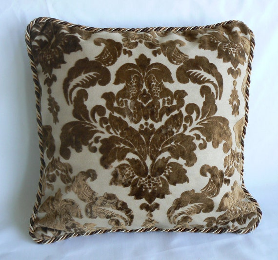 "Pillow 19, Copper brown damask, cut velvet, 18"" pillow, with lip cord"