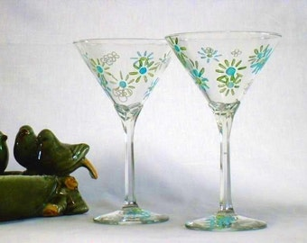 Retro Martini - Set of 2 Old Fashioned Martini Glasses in Funky Lime and Turquoise
