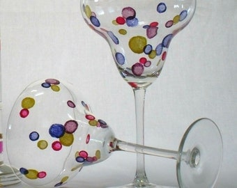 Confetti Dots Margarita Glass - Set of 2