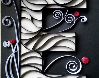 Paper Quilled Initial E - Wall Decor - 8X10