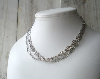 Long Silver Oval Chain Link Necklace