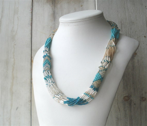 Silver and Turquoise Seed Bead Woven Necklace