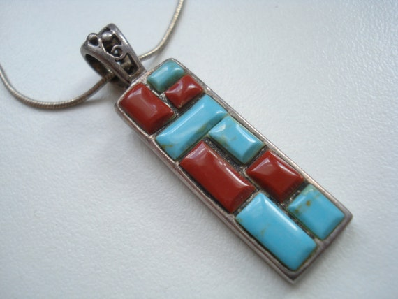Sterling Mosaic Pendant Necklace