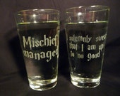 I solemny swear that I am up to no good/ Mischief managed- 16 oz Glasses-Set of 2