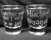 Set of 2 Solemnly Swear/Mischief Managed Shot Glasses
