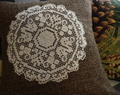 """Brown Pillow Cover - Tweed Pillow Cover - Doily Pillow Cover - 16"""""""