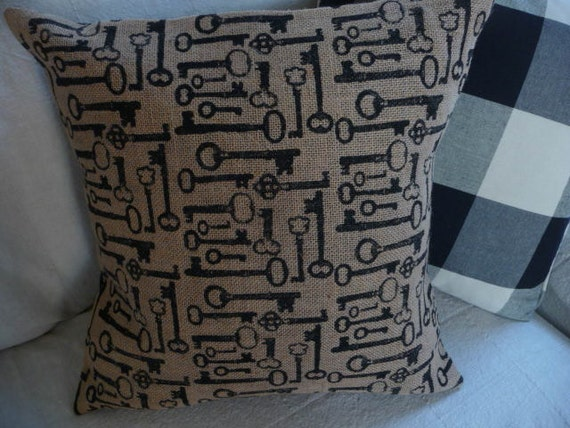 Antique Skeleton Key Burlap Pillow Cover