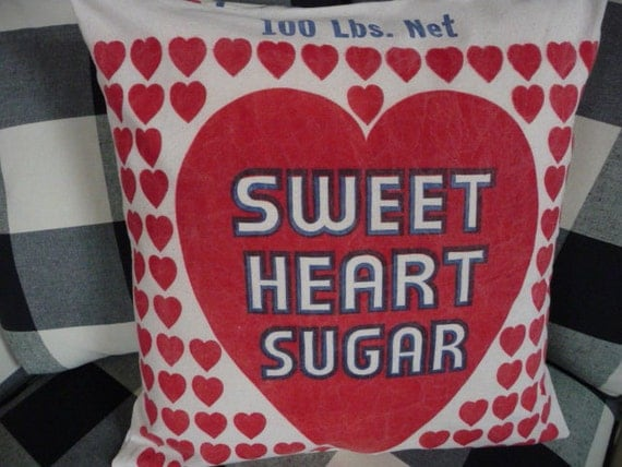 """Heart Pillow Cover - Valentines Pillow Cover - Sweet Heart Sugar - Feedsack Pillow Cover -  Reproduction fabric - 18"""""""