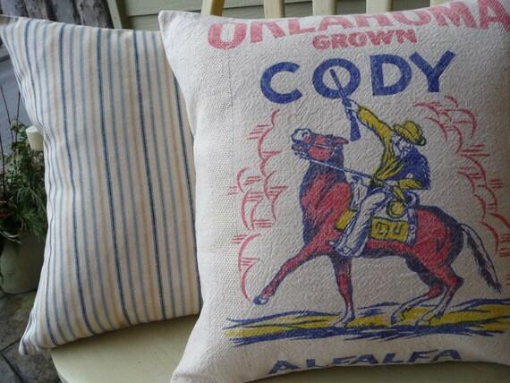 Cowboy Pillow Cover - Horse Pillow Cover - Feedsack pillow cover
