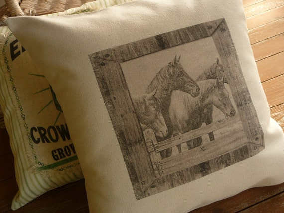 Vintage Image Rustic Horse Pillow Cover