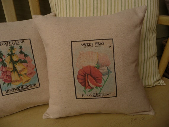 Flower Pillow Cover - Sweet Pea Pillow Cover - Seed Packet Pillow Cover - Garden Pillow Cover - 12""