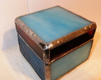 Sky Blue, Red and Deep Blue Glass Box