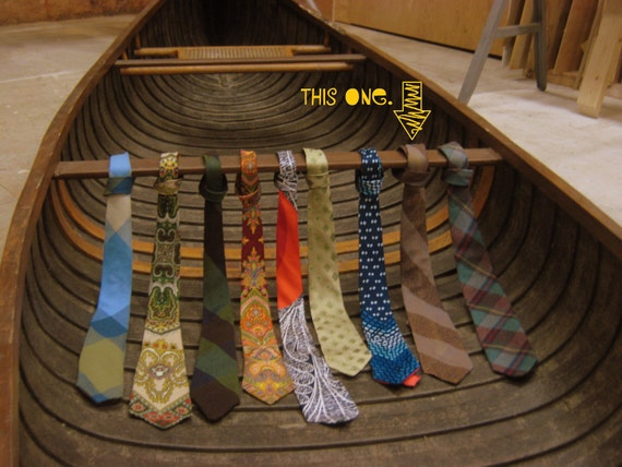 vintage necktie - tan grey-blue and navy striped wool men's tie