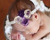 purple ruffle multi flower headband photography prop accessory
