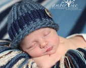 baby boy blue knit blue navy blue button hat photography prop