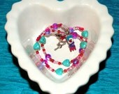MINI ANGELS Original LOVE Howlite Turquoise Hearts Glass Rounds Necklace Sterling Silver Heart Toggle Clasp