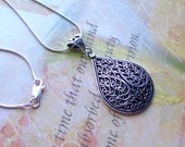 Sterling Silver Necklace, Sterling Silver Jewelry Handmade, Filigree Necklace, 925 Silver, Teardrop Necklace, Filigree Necklace