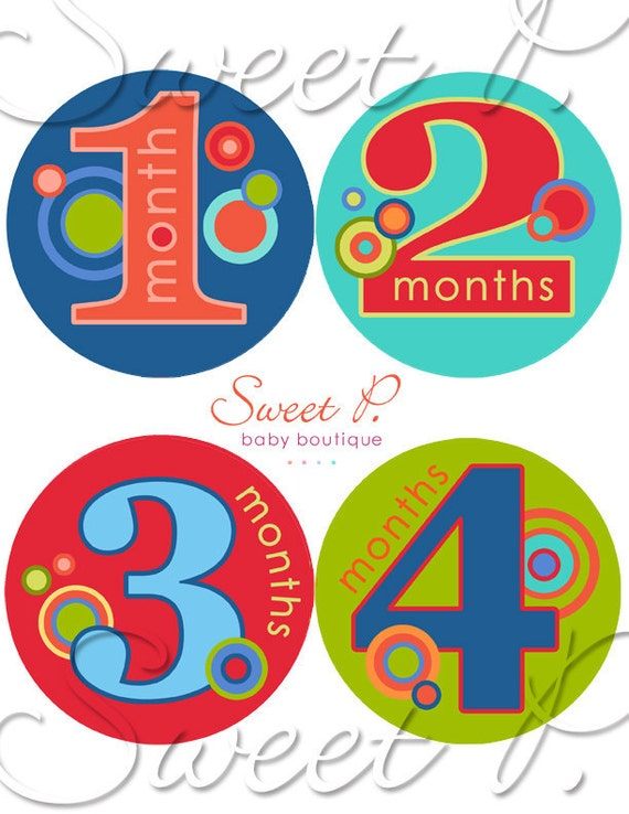 Baby Boy Monthly milestone stickers: belly stickers for baby