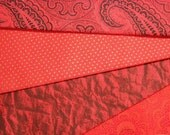 4 Fat Eighths..Mostly Vintage..RED with Black...Cotton Quilting and Sewing Fabrics...