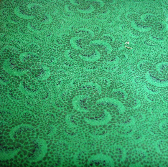 Vintage..1/2 yard tone on tone Green Cotton Quilting Fabric Print...3.50 USD