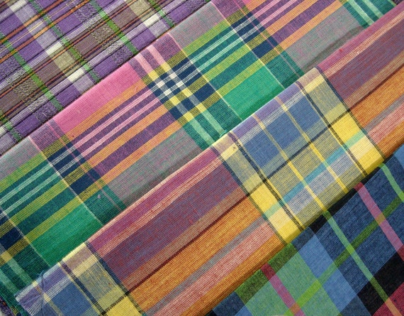 4 Fat Eighths..Vintage Madras Plaids in Summery Brights...Cotton Quilting and Sewing Fabrics