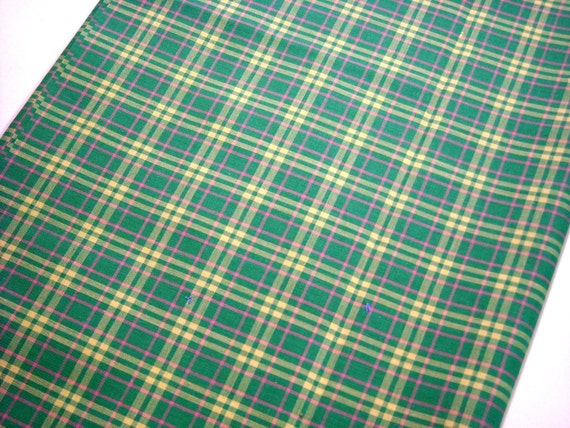 Vintage...Oversized 1/2 yard...Ultra-Fine Quality Liberty of London Plaid...Grass Green with Yellow and Pink..Cotton Fabric.