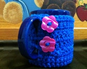Crochet Coffee Cup Cozy Blue with Pink Buttons Ready to Ship