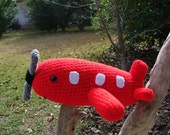 Crochet Red Airplane..Ready to Ship