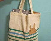 SALE - little golden rabbit striped mini canvas tote - one of a kind
