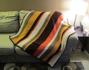Harvest: Brown, orange, yellow and cream throw blanket