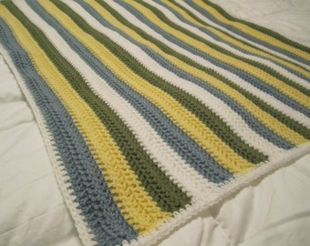 Cozy Striped Baby Blanket- Blue, Green, Yellow and White