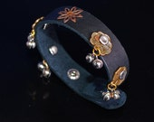Narrow Black Leather Cuff embellished with Chinese Coins and Bells