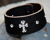 Black Leather Cuff with Rhinestone Cross and Rhinestones on each side