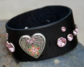 Black Leather Cuff with Silver Rhinestone Heart with Surrounding Pink Crystals