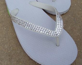 Swarovski Crystal White Flip Flops - Embellished Rhinestone Size 5, 6, 7, 8, 9, 10, 11, 12, High Quality Rubber