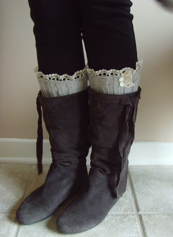 Leg Warmer Boot Socks w/ Ruffled Lace & Iridescent Buttons on Light Grey Knee High Cable Knit w/ Ruffled Bottom Edge