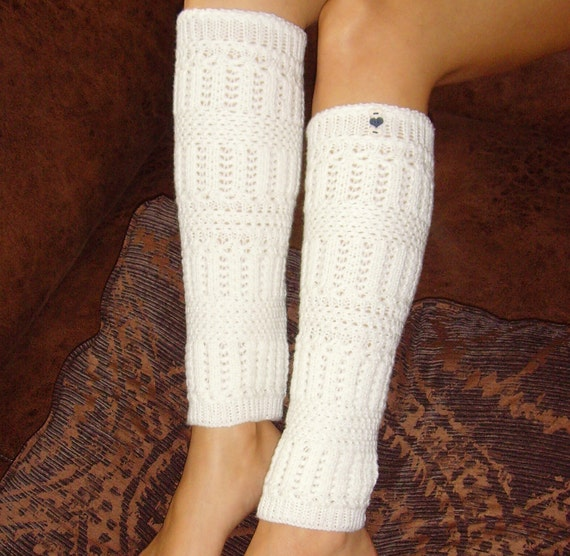 Leg Warmers - Cream Knit Design w/ Navy & Cream Mini Heart Buttons,  Knee High, Navy Thread
