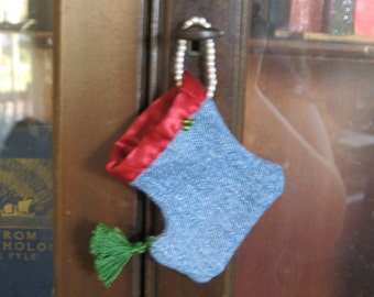 Denim Elf Boot Ornament  hand sewn Christmas ornament